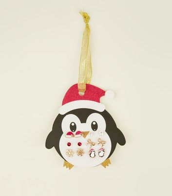 6 Pack Multicoloured Christmas Penguin Stud Earrings
