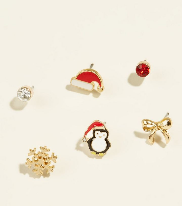 8b661e6dee7ac 6 Pack Multicoloured Christmas Penguin Stud Earrings Add to Saved Items  Remove from Saved Items