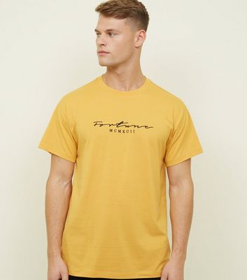 Yellow Fortune Embroidered Logo T-shirt