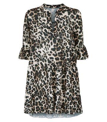 Cameo Rose Crepe Leopard Print Smock Dress New Look