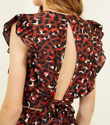 Cameo Rose Dark Brown Leopard Print Frill Crop Top New Look