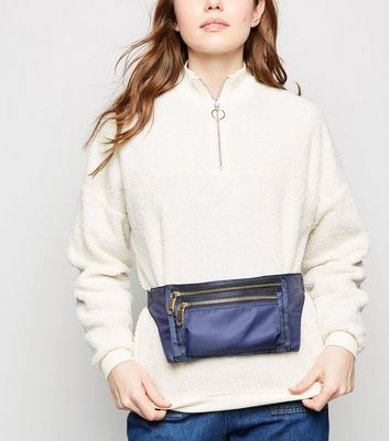 Navy High Shine Rectangle Bum Bag