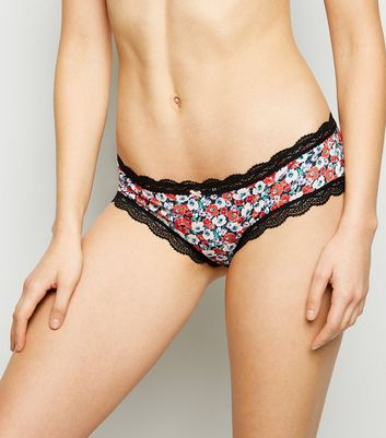 Red Floral Lace Trim Bikini Briefs