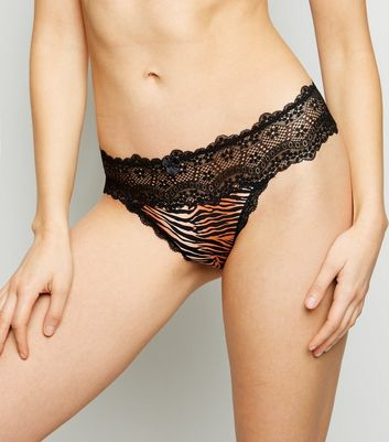 Black Tiger Print Lace Waist Thong