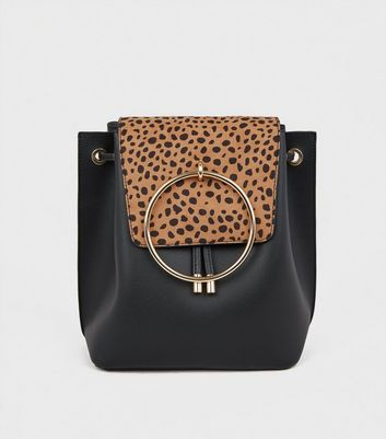 Black Animal Print Ring Front Backpack