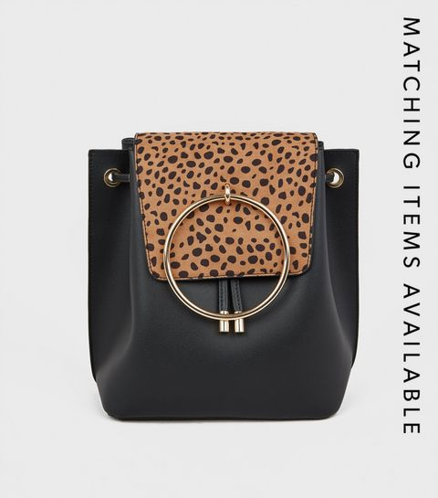 3cdc54e1606f ... Black Animal Print Ring Front Backpack ...