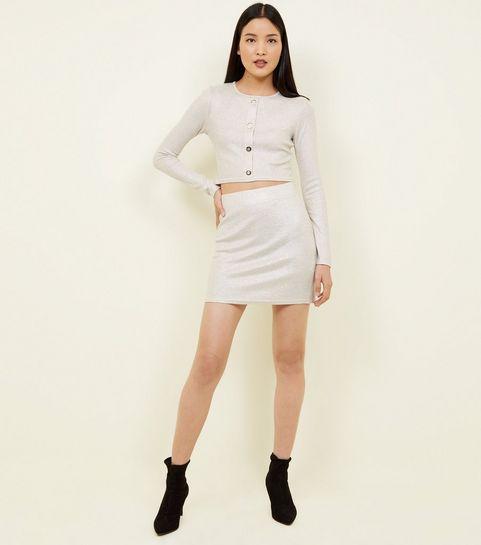 ... Cream Metallic Ribbed Tube Skirt ... 7929e32660
