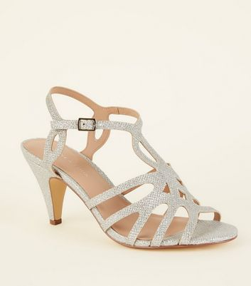 Wide Fit Silver Glitter Strappy Dancing Shoes