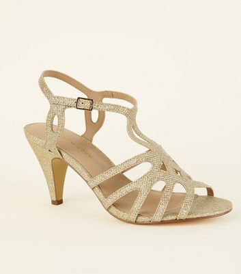 Wide Fit Gold Glitter Strappy Dancing Shoes