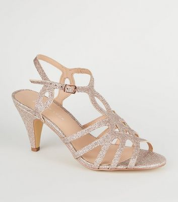 Wide Fit Rose Gold Glitter Strappy Dancing Shoes