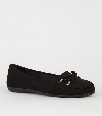 Wide Fit Black Suedette Mocassin Loafers