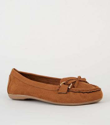 Wide Fit Tan Suedette Mocassin Loafers