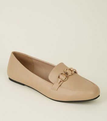 Wide Fit Camel Ring Strap Loafers