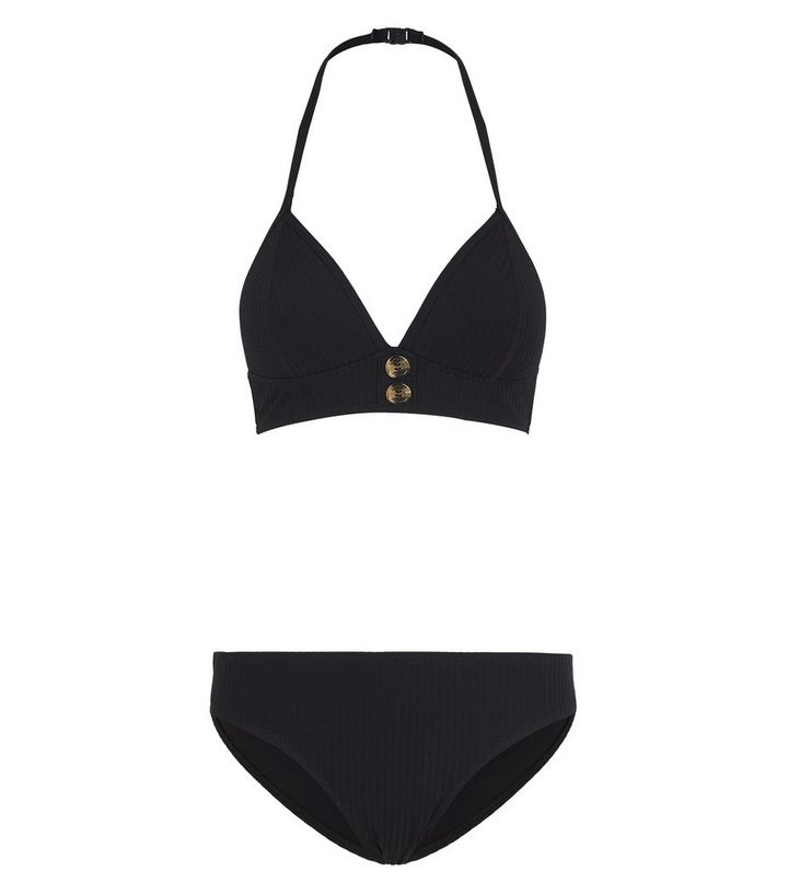 women classic fit fashion design Girls Black Ribbed Button Front Bikini Set Add to Saved Items Remove from  Saved Items