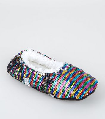 Rainbow 2-Way Sequin Fluffy Ballet Slippers