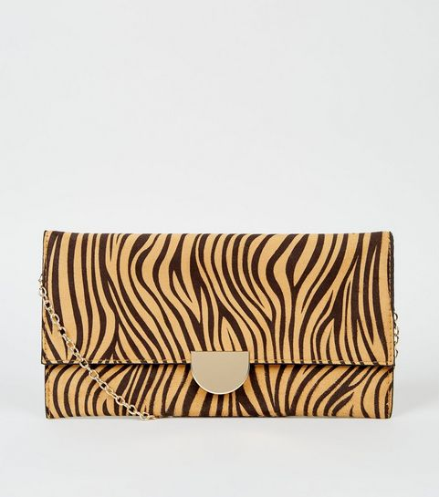 c77fe2d0699f ... Light Brown Tiger Print Clutch Bag ...