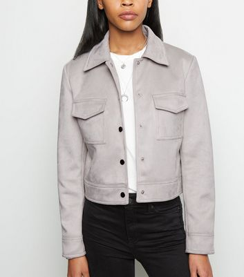 Pale Grey Suedette Utility Trucker Jacket