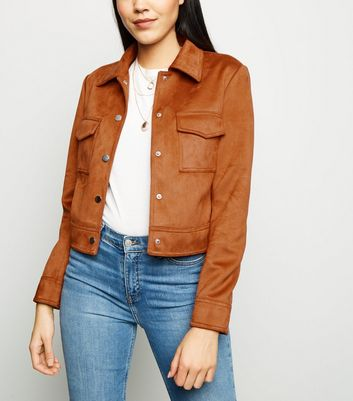Tan Suedette Utility Trucker Jacket