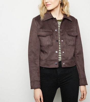 Dark Brown Suedette Utility Trucker Jacket