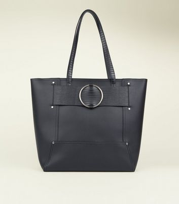 Black Leather-Look Ring Strap Tote Bag