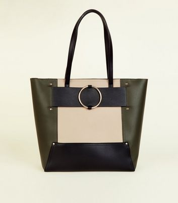 Khaki Leather-Look Ring Strap Tote Bag