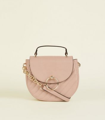 Nude Quilted Mini Saddle Bag