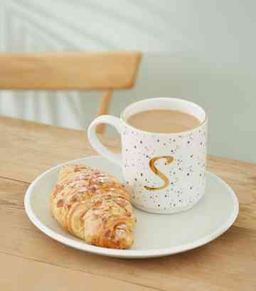 White Speckled S Initial Mug