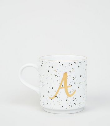 White Speckled A Initial Mug