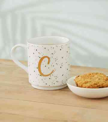 White Speckled C Initial Mug