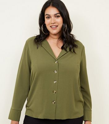 Curves Khaki Long Sleeve Utility Shirt