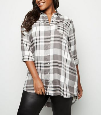 Curves Black Check Longline Shirt