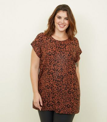 Curves Bronze Glitter Leopard Front Print Top