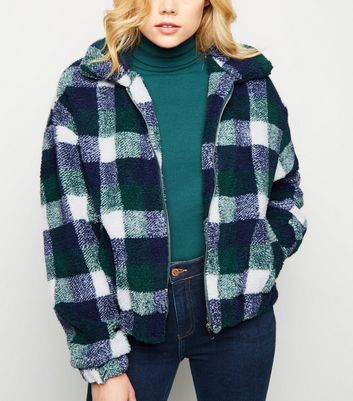 Green Check Teddy Borg Bomber Jacket
