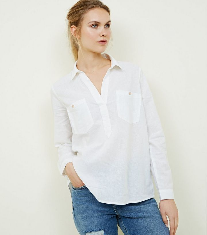 d2195dfb626d04 White Linen Blend Pocket Front Overhead Shirt | New Look