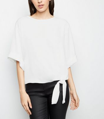 Off White Satin Tie Front Blouse