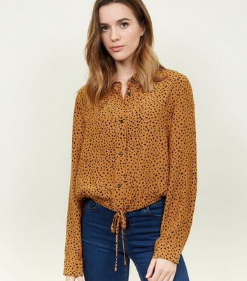 Orange Animal Print Tie Hem Shirt