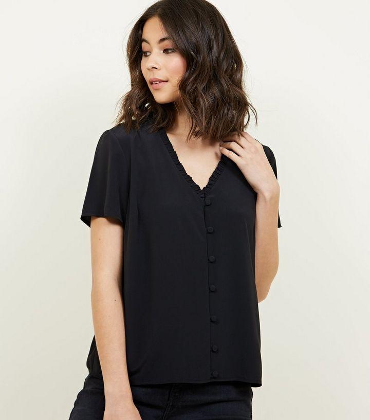 dc7f6090 Black Frill Neck Short Sleeve Blouse | New Look