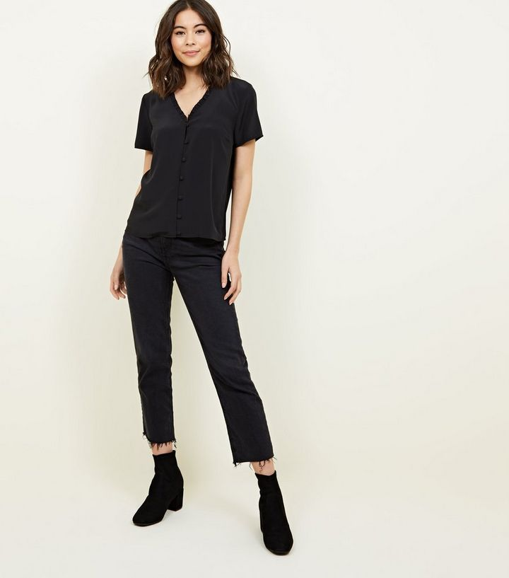 4cb88445 ... Black Frill Neck Short Sleeve Blouse. ×. ×. ×. Shop the look