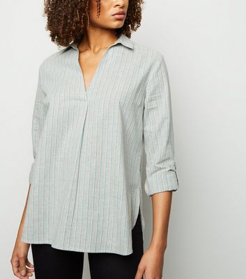 Light Grey Stripe Overhead Shirt