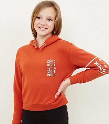 Girls - Sweat à capuche orange à logo New York