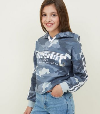 Girls Blue California Slogan Camo Print Hoodie