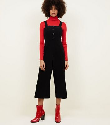 Black Corduroy Button Front Culotte Jumpsuit by New Look