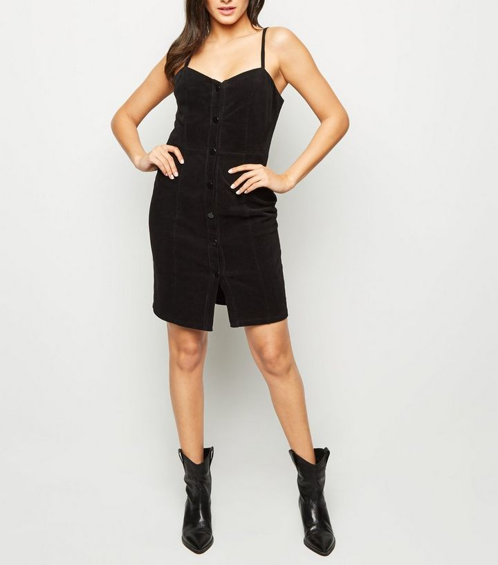 f7f366c77ce Black Corduroy Button Front Mini Dress