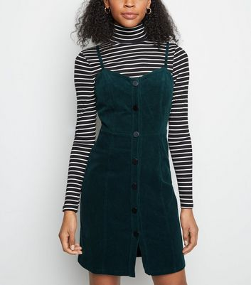 Dark Green Corduroy Button Front Mini Dress