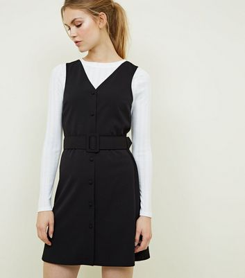 Black Button Front Belted Pinafore Dress