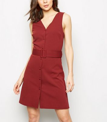 Rust Button Front Belted Pinafore Dress