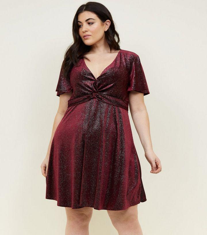 a422f4c0113e Curves Burgundy Glitter Velvet Twist Dress | New Look