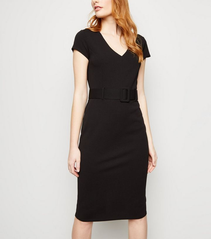707f5e75 Black Scuba Belted Midi Dress | New Look
