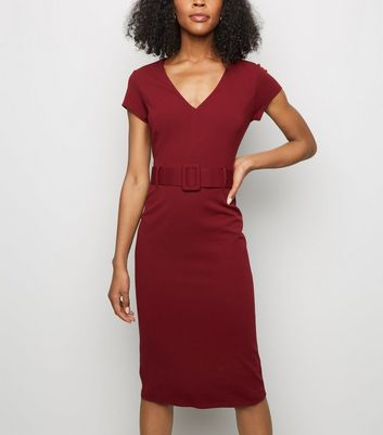 Plum Scuba Belted Midi Dress