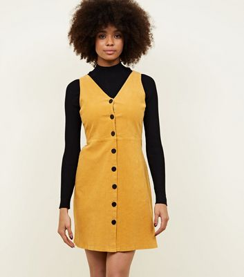 Mustard Corduroy Button Front Dress